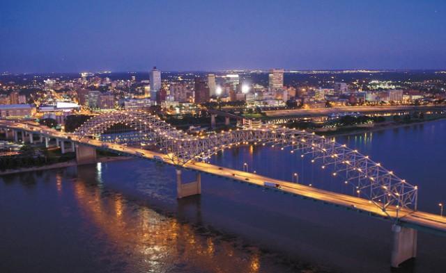 Memphis Skyline Showcasing the Hernando DeSoto Bridge. Photo by Jack Kenner
