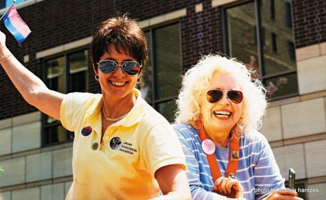 Dr. Marge Charmoli (left) and Dr. Anita Kozan (right) flying the bi flag proudly. Photo by Sophia Hantzes