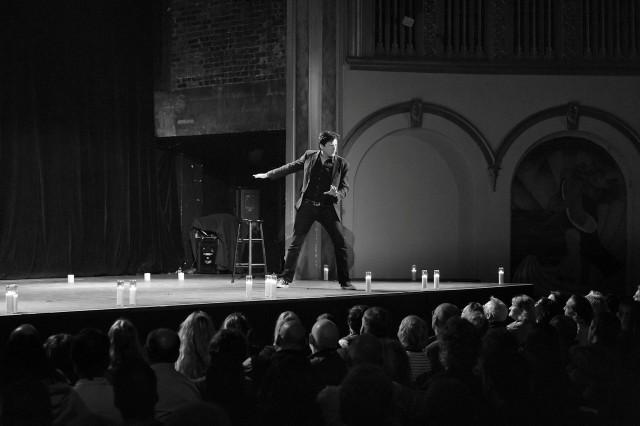 John Fugelsang b & w onstage action