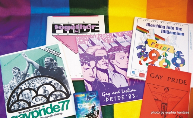 Pride programs and guides throughout history from Quatrefoil Library. Photo by Sophia Hantzes