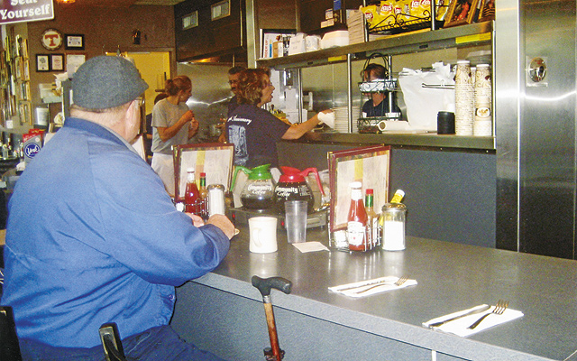 Loyal regular at Pete's Coffee Shop. Photos by Carla Waldemar