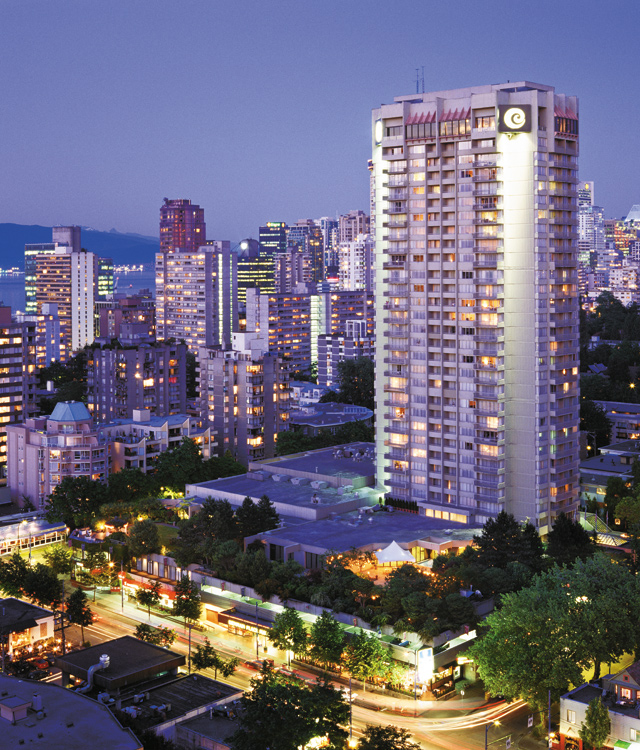 Coast Plaza Hotel near English Bay and Stanley Park. Photo courtesy of Tourism Vancouver
