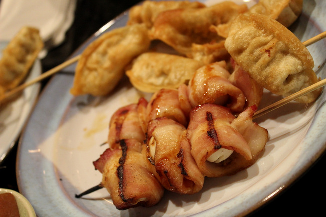 Potstickers and bacon wrapped quail eggs for the win!