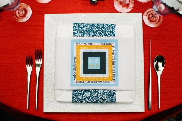 Custom menu-on-napkin piece by Beau Papier by Gateaux, Inc. Photo by Photogen Inc.