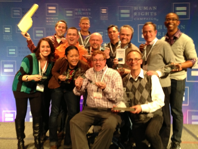 Twin Cities HRC Steering Committee with their awards, photo courtesy of the Twin Cities HRC