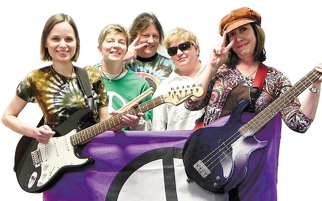 Rock band Missing Peace members: Jennifer Strick,Kris Warholm,Jennifer Volkman,HB Bachuber, andLisa Whitney. Photo courtesy of She Rock She Rock