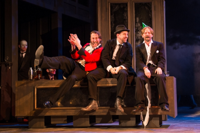 Vince Leigh (Sir Toby Belch), Liam O'Brien (Feste) and John Dougall (Sir Andrew Aguecheek) in Propeller's Twelfth Night by William Shakespeare. Photo by Manuel Harlan