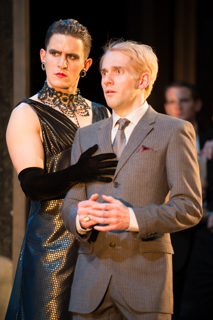 Ben Allen (Olivia) and Joseph Chance (Viola) in Propeller's Twelfth Night by William Shakespeare.  Photo by Manuel Harlan