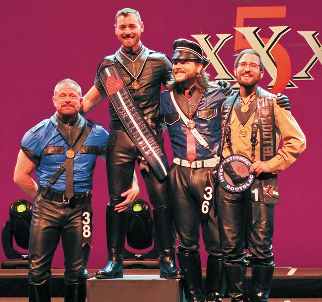 Robert Miller, second runner-up; Andy Cross, International Mr. Leather 2013; Thib Guicherd-Callin, ?rst runner-up; Sammy, International Mr. Bootblack 2013. Photo by Steve Lenius