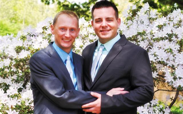 Newlyweds Brian Harper-Tibaldo and Brian Tibaldo, Jr. Photos by Angie Elkins