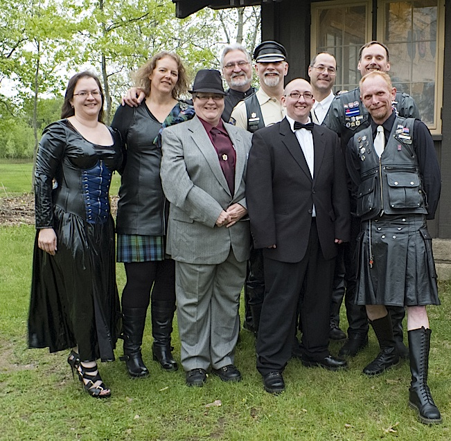 Members of the Knights of Leather dressed up for the Tournament 25 banquet. Photo by Steve Lenius.