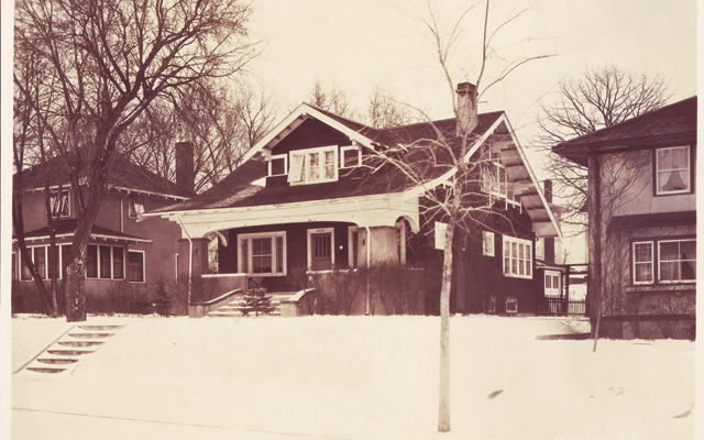 """""""Historic real estate photos are a great resource in determining a house's original appearance,"""" says David. Note the open front porch. Photo courtesy of Hennepin History Museum; Original dining room buffet: """"The house had good bones."""""""