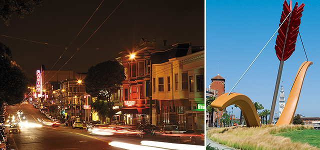(Clockwise from left) Castro at Night; Cupid's Span; California Street Cable Cars. San Francisco Travel Association photos.