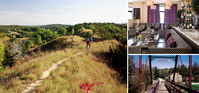 (Clockwise from left) Loess Hills, photo by Erich Ernst; Hotel Blackhawk, photo by Alise O'Brien Photography; Bentonsport (Villages of Van Buren), photo by Phil Augustavo; Autumn  River Scene, photo courtesy of iStockphoto.