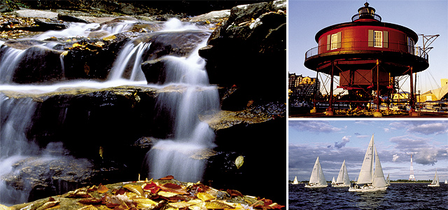 (Clockwise from left) Potomac Forest; Maritime Museum; Wednesday Night Sail Boat Races; Western Maryland Scenic Railroad. Photos courtesy of Maryland Office of Tourism.