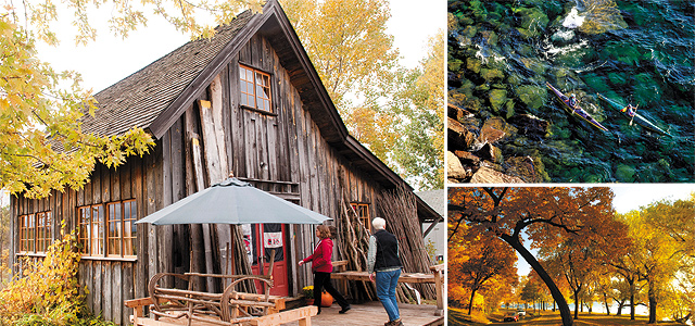 (Clockwise from left) A Fall Day at Stony Run Woods; Sea Kayaking on Lake Superior; Golden Leaves around Lake Harriet; Grand Marais on the North Shore. © Explore Minnesota Photos.