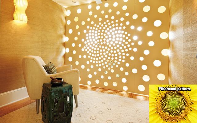 Fibonacci and Meditation. A room of well-executed design.