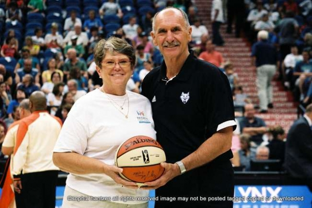 Joann Usher, Executive Director of Rainbow Health Initiative was acknowledged by Chris Wright , President of the Minnesota Timberwolves at the Minnesota Lynx v Seattle Storm  game at the Target Center. The Lynx won the game 97-74.