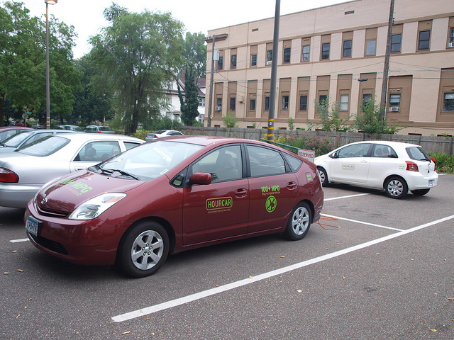 HourCar's plug-in Toyota Prius and Toyota Yaris at Mississippi Market, St. Paul