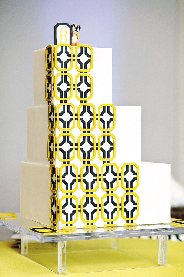 Calhoun Beach Club couple went graphic with a black, white and chartreuse cake by Gateaux Inc.