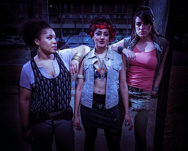 L-R: Girl 2 (Joetta Wright), Kalki (Lipica Shah), Girl 1 (Cat Brindisi). Photo courtesy of Mixed Blood Theater.