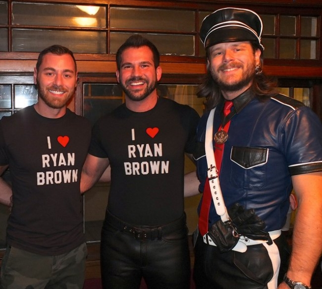 Seen at the pre-contest party are three out-of-town guest judges for this year's contest. Left to right are Andy Cross (Mr. San Francisco Leather 2013 and International Mr. Leather 2013); Nick Zuko (Mr. Chicago Leather 2013); and Thib Guicherd-Callin (Mr. Santa Clara County Leather 2012 and first runner-up for International Mr. Leather 2013). Other judges were Daddy Don (International Puppy Trainer 2012); Derek Harley (Mr. Minneapolis Eagle 2012); Ryan Brown (Mr. Minneapolis Eagle 2013); Tommy Rosengren; and Lady Carol. Photo by Steve Lenius.