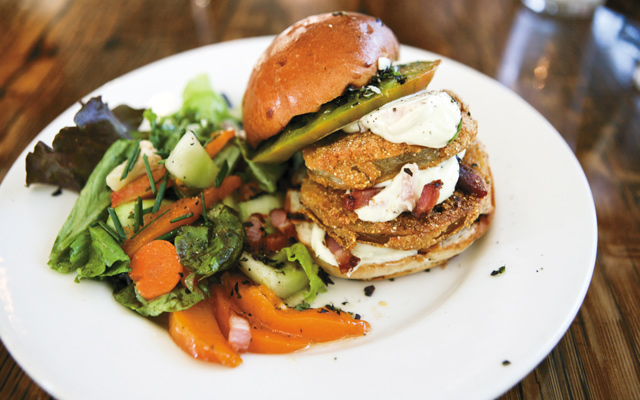 Wise Acre's fried green tomato sandwich. Photo by Mike Hnida
