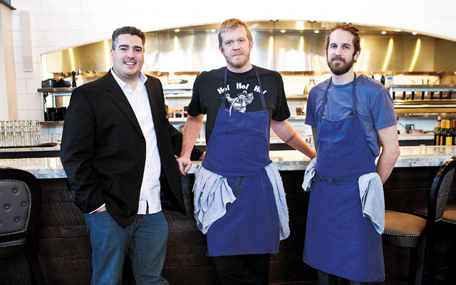 Overthrowing Uptown (from left): Jacob Toledo (J.T.), Owner; Nick O'Leary, Chef/Owner; and Tyler Shipton, Chef/Owner. Photo by Hubert Bonnet