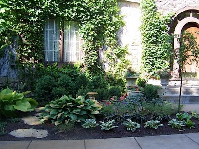 Soften the lines with ivy and gather a garden.
