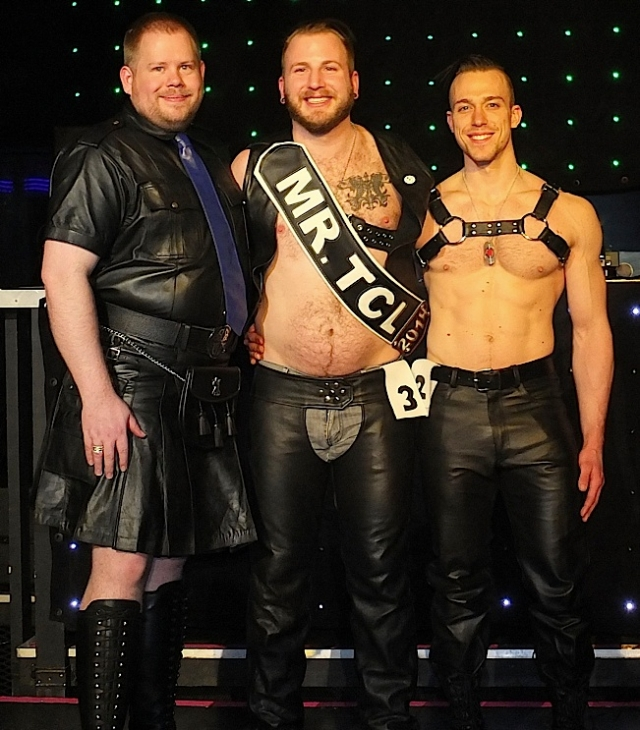 The contestants in the Mr. Twin Cities Leather 2014 contest. Left to right: Tim Holden, Greg Menzel (Mr. Twin Cities Leather 2014) and Boy Cody. Photo by Steve Lenius.