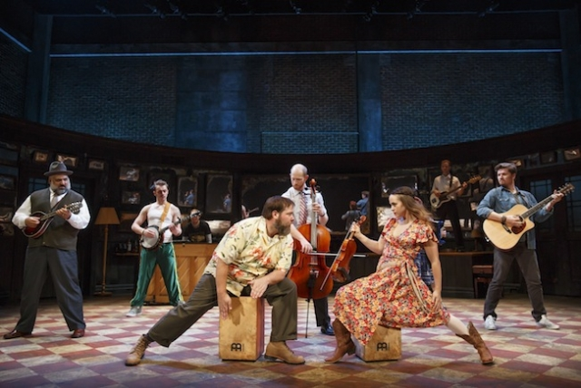 """Claire Wellin and the """"Once"""" cast. Photo by Joan Marcus"""