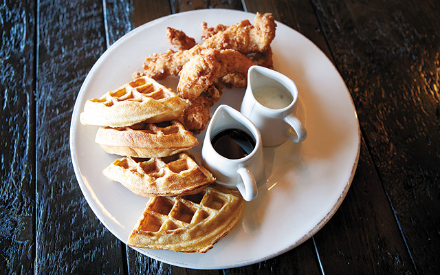 Fried chicken and waffles—lightly breaded sweet tea-brined chicken with gravy paired with a waffle slathered with warm Sriracha maple syrup. (How can I describe it other than it felt close to a religious experience?)