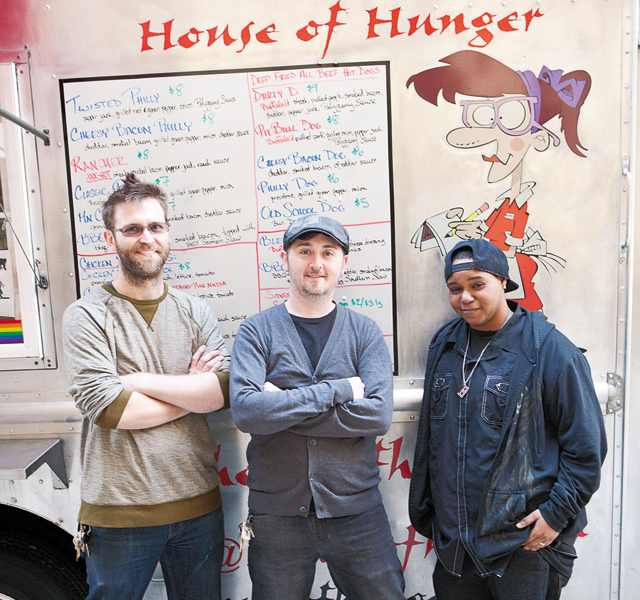 (From left)  Cody Allen, Wesley Kaake, Esha Winfrey-Thomas of House of Hunger. Photo by Hubert Bonnet
