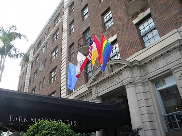The Pride flag proudly flies over Inn at the Park, a GLBT-friendly hotel in Hillcrest. Photo by Krissy Bradbury.