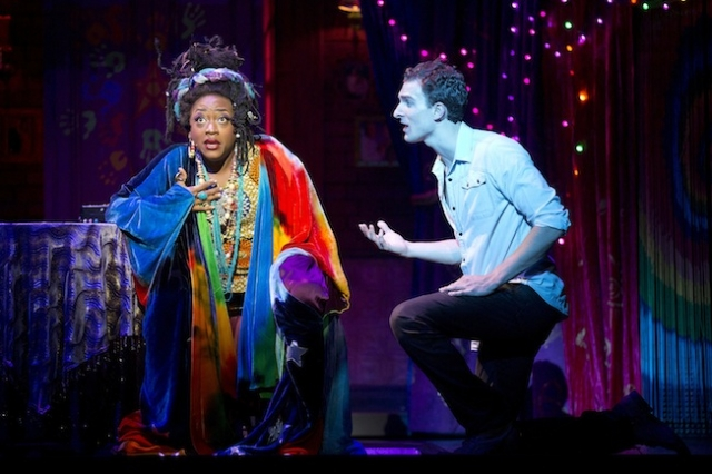 Carla R. Stewart steps into the role of Oda Mae Brown, the psychic roped into helping Sam (played by Steven Grant Douglas, right). Photo by Joan Marcus