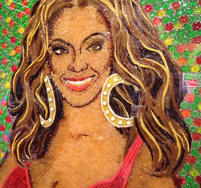 Beyonce artwork made of candy. Photo by Andy Lien