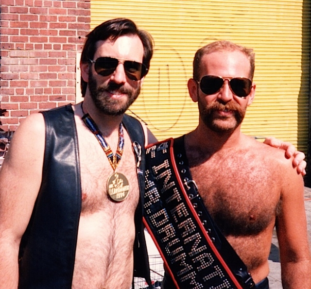 Hanging out with Keith Hunt, the new International Mr. Drummer, at the 1994 Folsom Street Fair. Photo by Ken Binder.