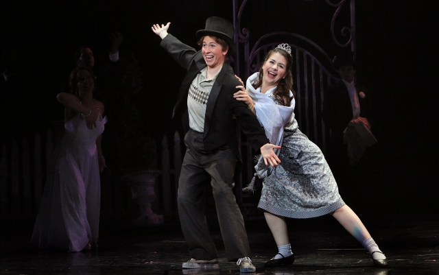 Stephanie Lauricella (left, Hansel) and Angela Mortellaro (right, Gretel) during a Hollywood-inspired dream sequence. Photo by Michal Daniel