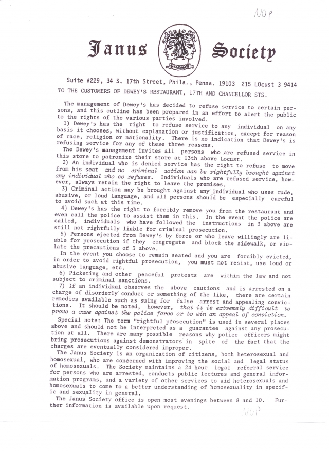 Leaflet from Janus Society handout at sit-in.