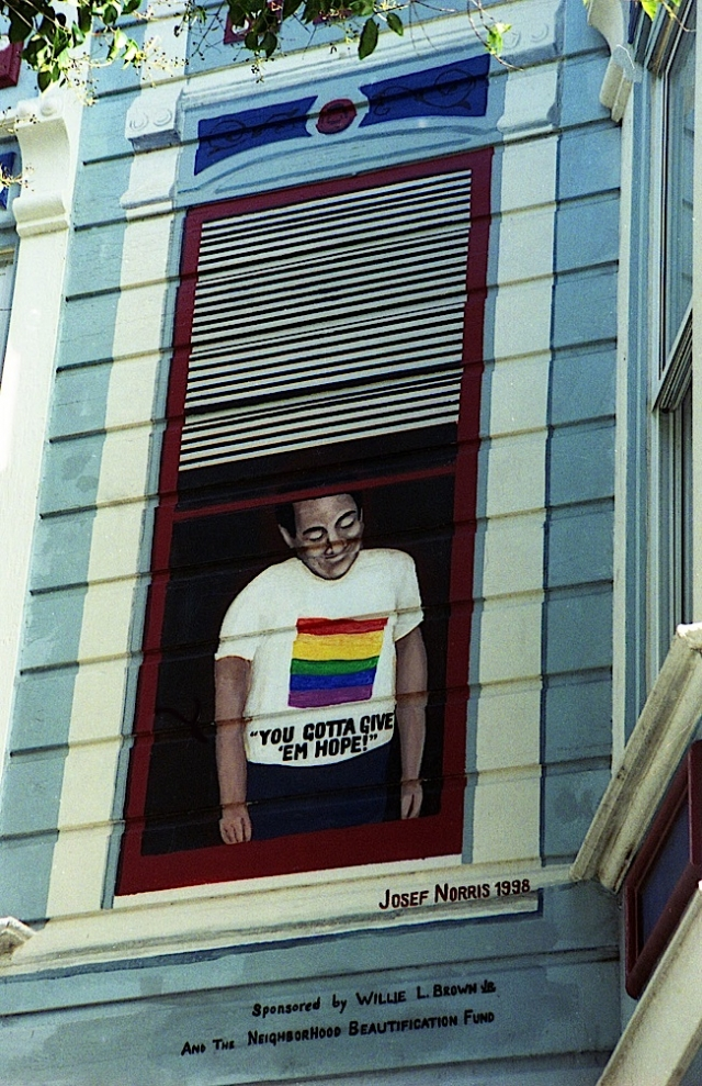 A mural of the late San Francisco Supervisor Harvey Milk is painted outside his former camera shop in the Castro. Photo: Rick Gerharter.