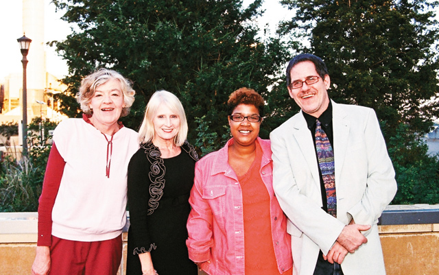 Wingspan Life Resources. (Left to right): Wingspan Life Resources Program Director, Maureen Merrill; Development Officer, Darolyn Gray; and Rainbow Support Group members Karina and Tim. Photo by Sophia Hantzes