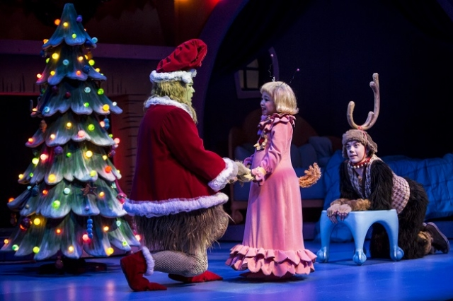 Max (Brandon Brooks) and the Grinch (Reed Sigmund) comfort Cindy Lou Who (Natalie Tran) Photo by Dan Norman
