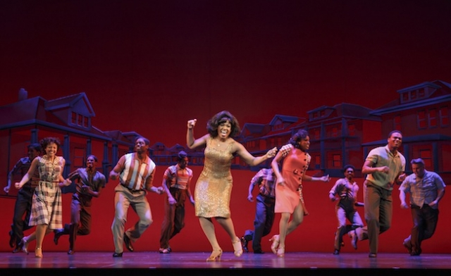 "Patrice Covington as Martha Reeves (center) performs ""Dancing In The Streets"" with the cast of Motown The Musical. Photo by Joan Marcus"