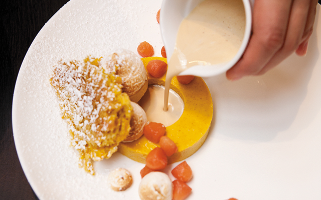 Diane Yang's Buttercup Squash Custard with Brown Sugar Marshmallow and Quince