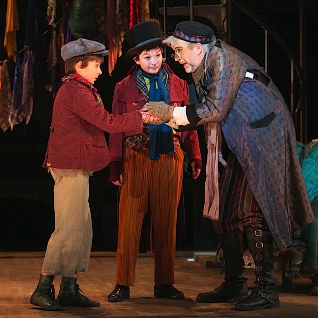 Nate Turcotte as Oliver, Alec Fisher as The Artful Dodger and Bradley Greenwald as Fagin. Photo by Heidi Bohnenkamp.