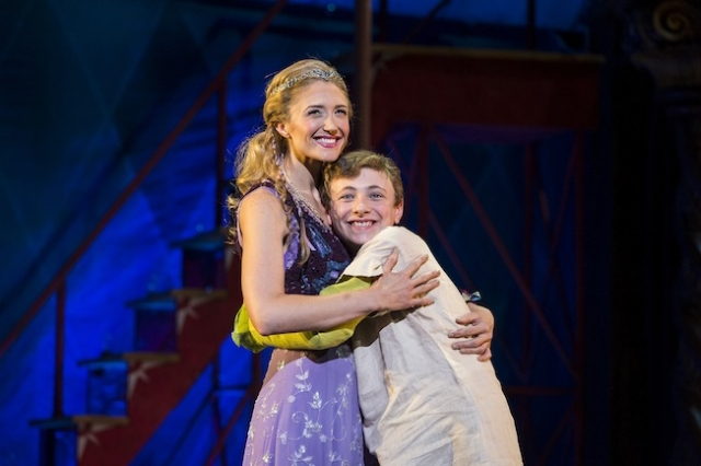 Kristine Reese as Catherine and Zachary Mackiewicz as Theo in Pippin Photo by Terry Shapiro