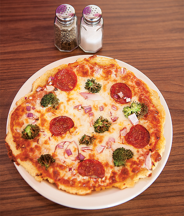 Pepperoni pizza with yucca crust. Photo by Hubert Bonnet