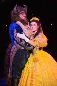 Ryan Everett Wood as Beast and Jillian Butterfield as Belle in Disney's Beauty and the Beast. Photo by Matthew Murphy.
