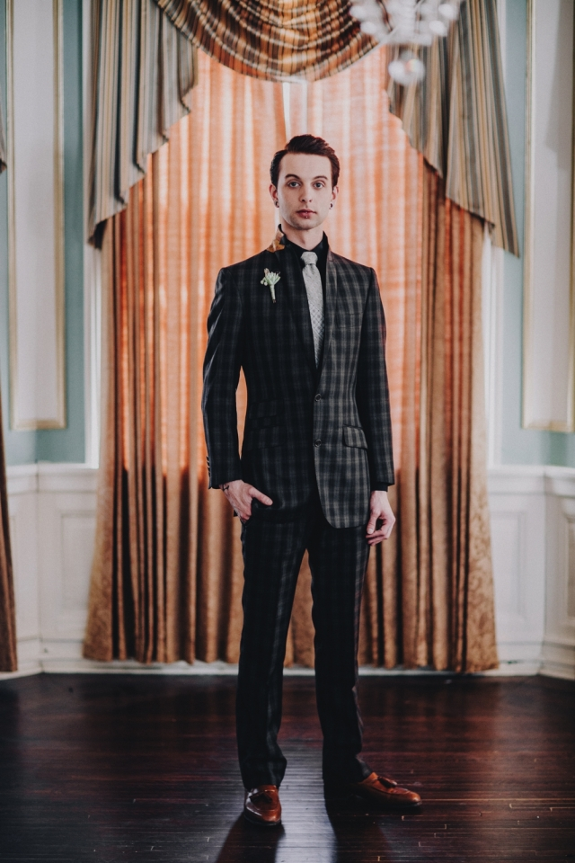 Custom-made suit by Astor & Black with gold paisley under-collar (pricing available upon request) from Dapper Dan Michael; Shoes by Ferragmo; Boutonniere from Flora Bella. Photography by Matt Lien Photography