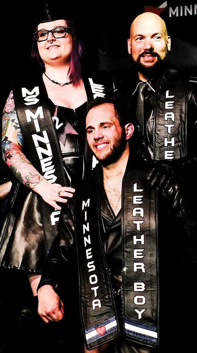 Aurora Lee, Ms. Minnesota Leather Pride 2015; Boy Woody, Minnesota Leatherboy 2015; and Ivan Nunez, Minnesota Leather Sir 2015. Photo by Steve Lenius